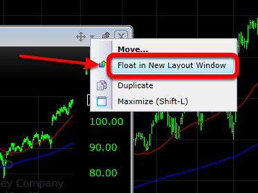 Click Float in New Layout Window to separate the chart from the current layout window for placement on a second screen.