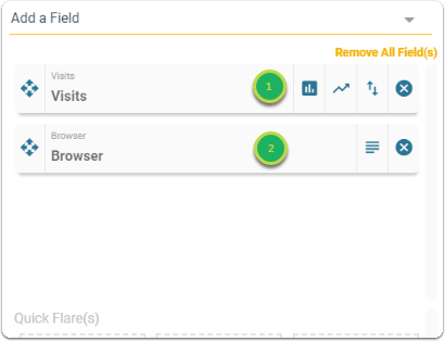 Select how the fields will interact with the chart.