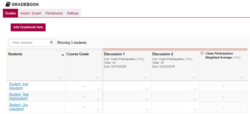 View Gradebook items
