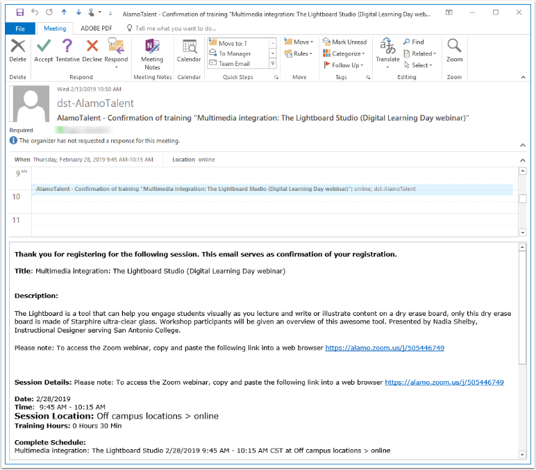Example email with Zoom links
