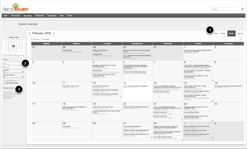 Sample events calendar with day, week, month options and showing filters and display options