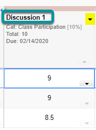 Sorting by a Gradebook column