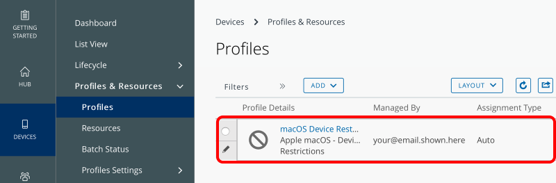 Verify the Device Profile Now Exists