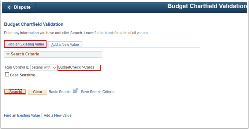 Budget Chartfield Find an Existing Value tab