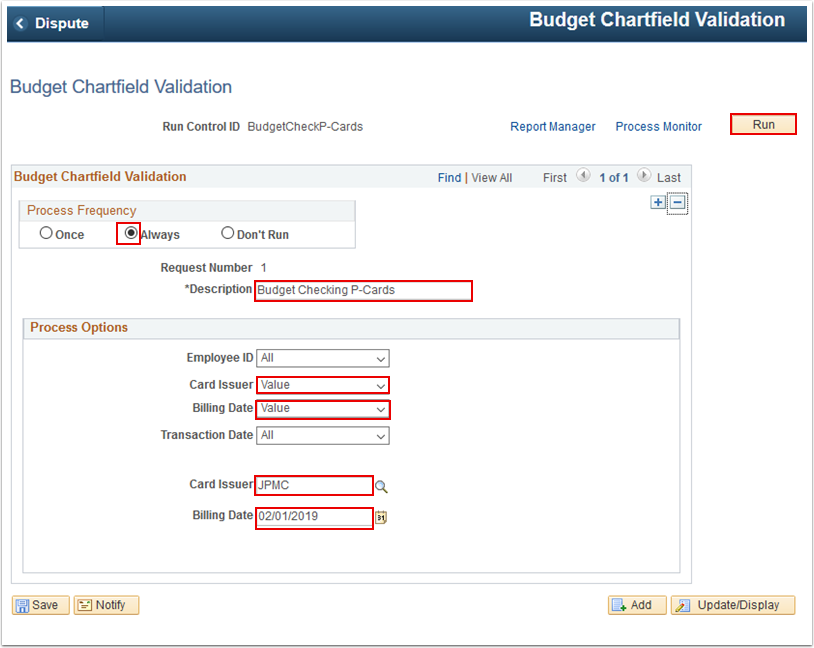 Budget Chartfield Validation page