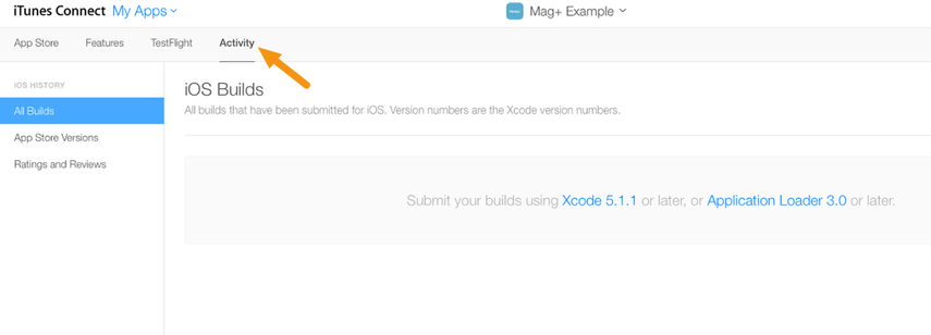 Click on the Activity tab to show builds that can be submitted for review.