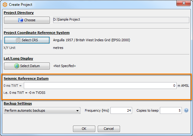 Configure seismic reference datum