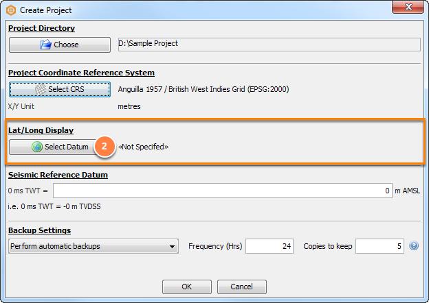Select latitude/longitude (lat/long) reference