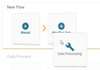 Choose a process and drag it up to the flow window. Repeat as necessary.