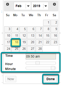 Select the calendar icon to insert date and time.