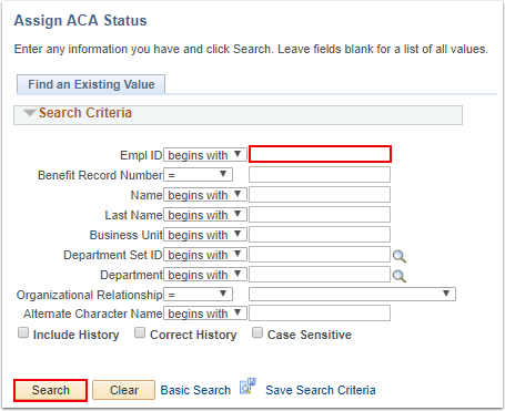 Assign ACA Status search page