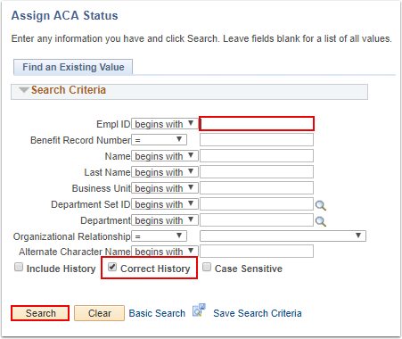 Assign ACA Status search page - section 3