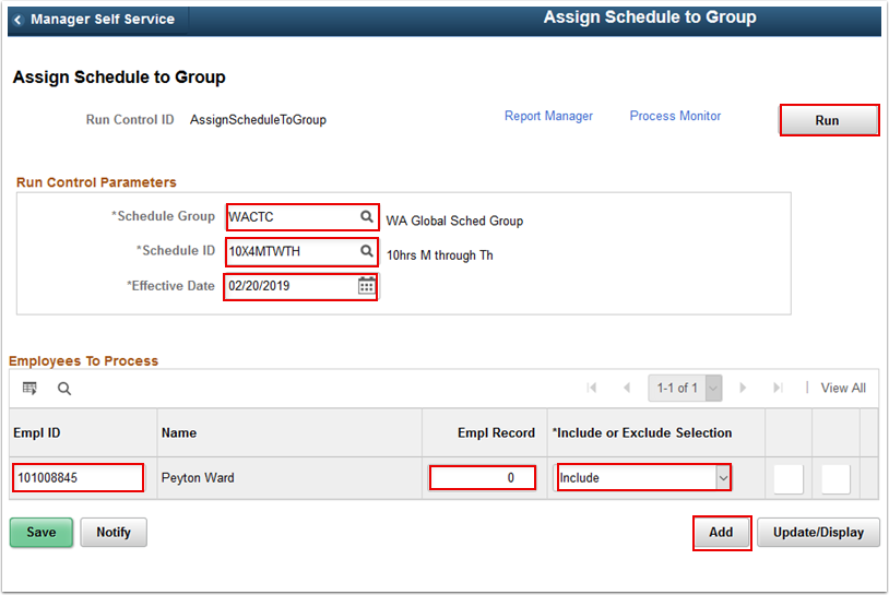 Assign Schedule to Group page