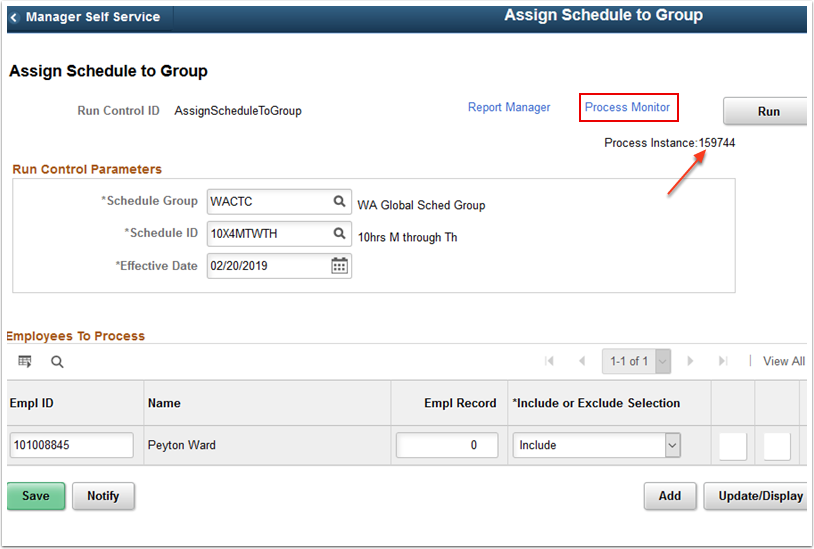 updated Assign Schedule to Group page
