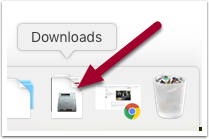 highlighting the Downloads folder in the MacOS Dock