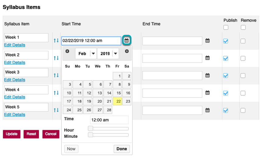 Select start and/or end dates.