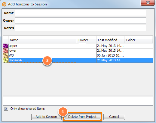 Delete an item from the project database in the Search dialog