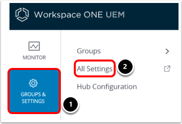 Navigate to Workspace ONE UEM admin console settings to manage android devices