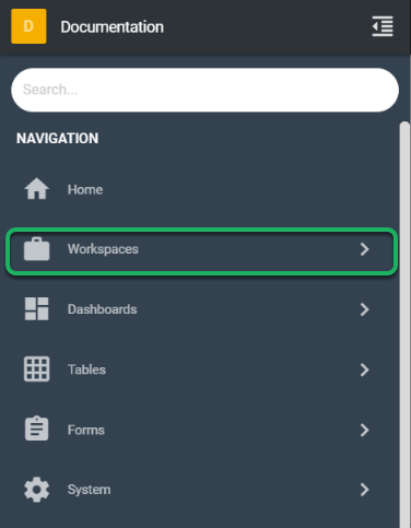 Clicking on the Workspace(s) to open the Workspace(s) menu.
