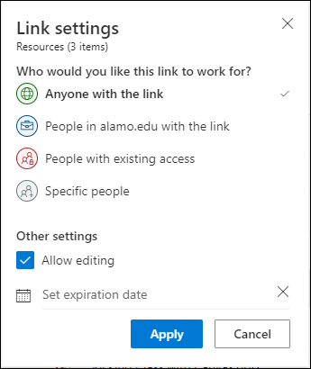 Link settings allows you to select linking preferences, allow editting, and setting an expiration date