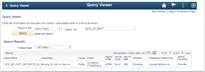 Query Viewer Search Results