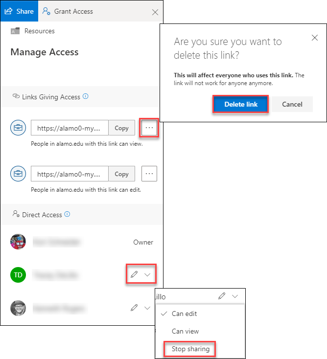 Manage access allows you to delete links and/or change permissions on individual's access