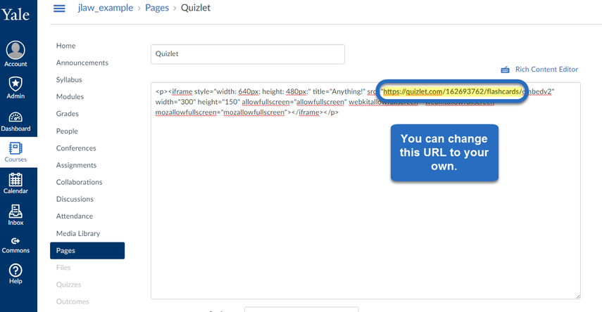 change URL in embed code