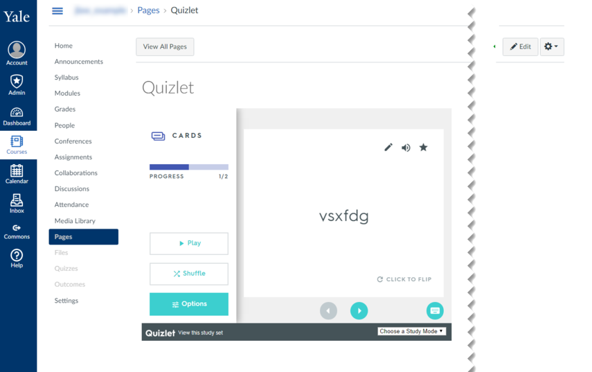 screenshot of embedded quizlet