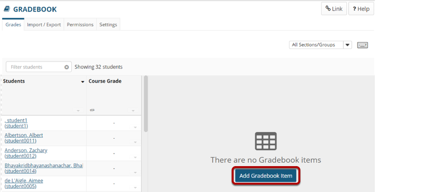 Click the Add Gradebook Item button.