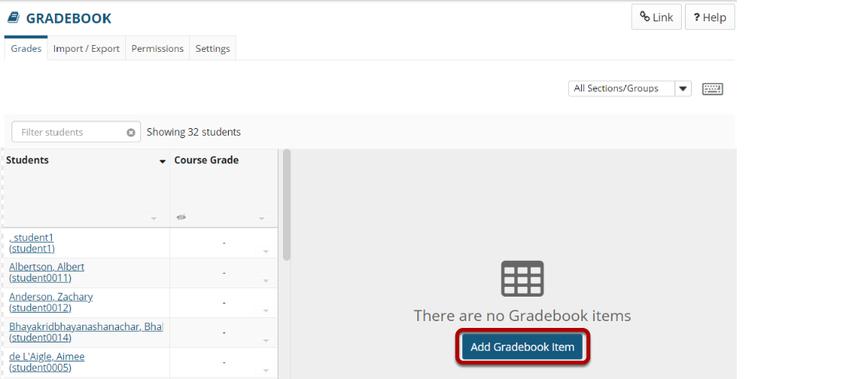 Click the Add Gradebook Item button.