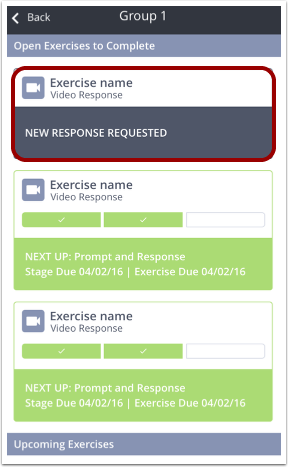 Mobile app Group page displaying the New Response Requested notification