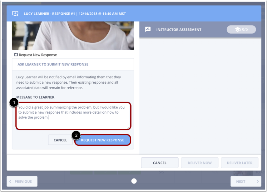 Request New Response form with field for message to learner