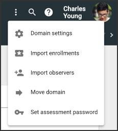 domain settings dropdown menu