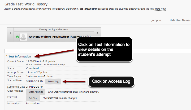 Image of the Test Information window with instructions to click on Test Information to view details on the student's test attempt.  There is another arrow pointing to the Access Log button with instructions to click on Access Log.