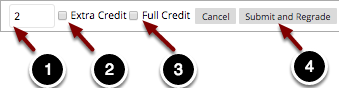 Image of the edit point value dialog box with the following annotations: 1.Update Points: Type in the desired point value to update the point value for the question.2.Extra Credit: Check this box to designate the question as extra credit.3.Full Credit: Check this box to award all students the total point value for the question.4.When finished, click the Submit and Regrade button to apply the changes.