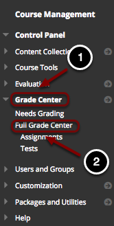Image of the Blackboard Control Panel with the following annotations: 1.Click on the Grade Center heading.2.The Grade Center section will expand.  Select Full Grade Center from the available options.