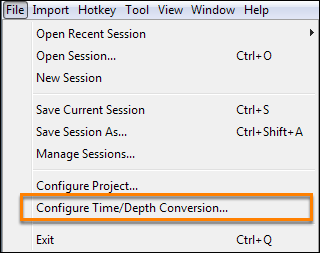 Configure time/depth conversion