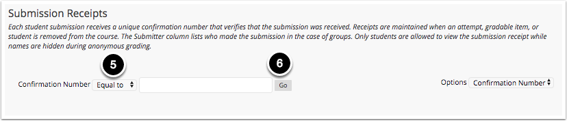 Image of the Submission Receipts screen set to search by confirmation number with the following items: 1.To search by confirmation number, change the option to Confirmation Number and use the dropdown menu to select the search method.2.Enter the search term in the space provided and click Go to search by confirmation number.