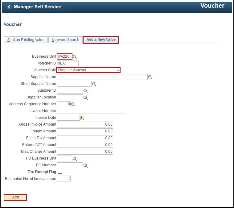 Voucher Add a New Value tab