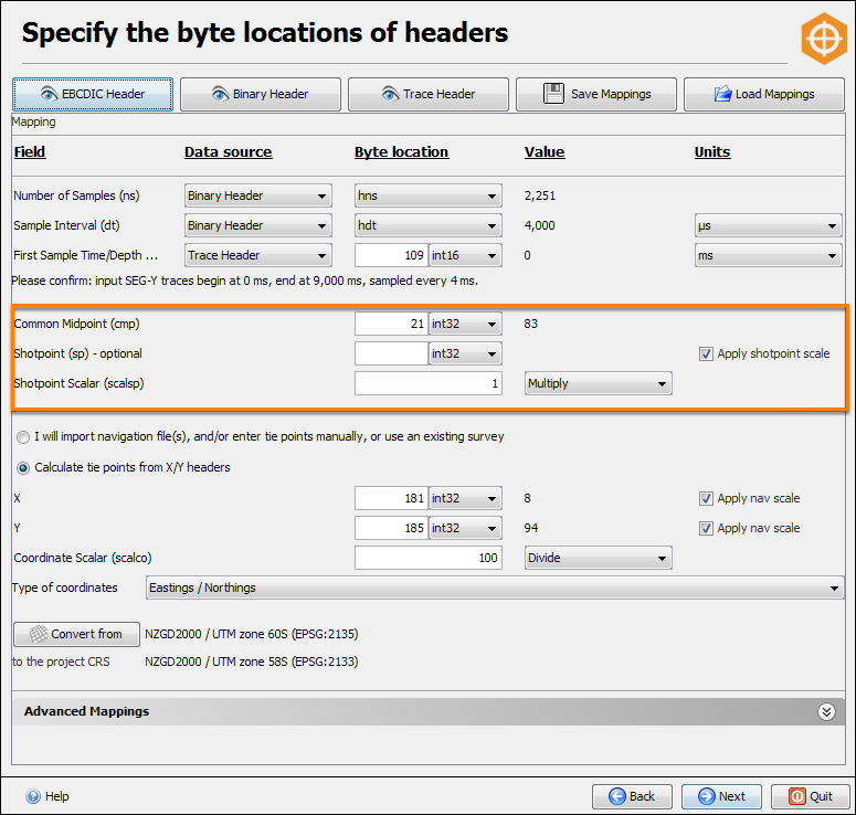 Remap header for horizontal extent