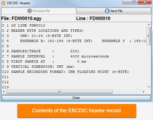 EBCDIC header