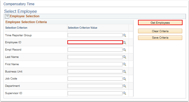 Select Employee search section