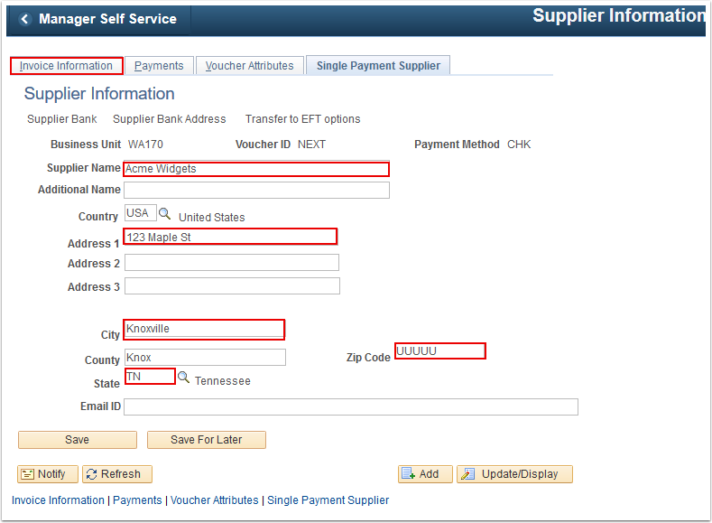 Single Payment Supplier tab