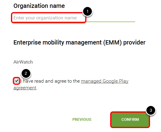 Confirm your Organization Details to manage Android devices