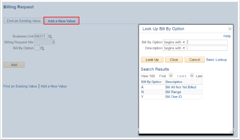 Billing Request page Look Up Bil By Option displayed