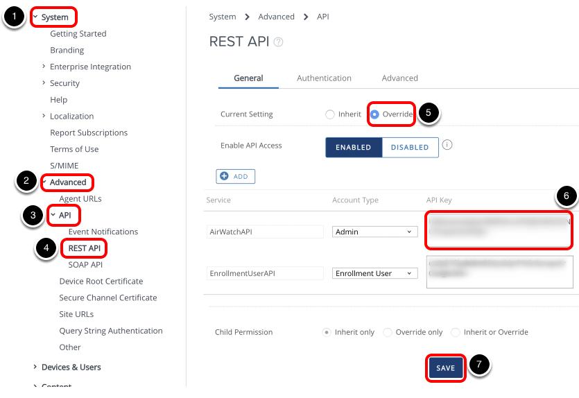 Obtaining REST API Key