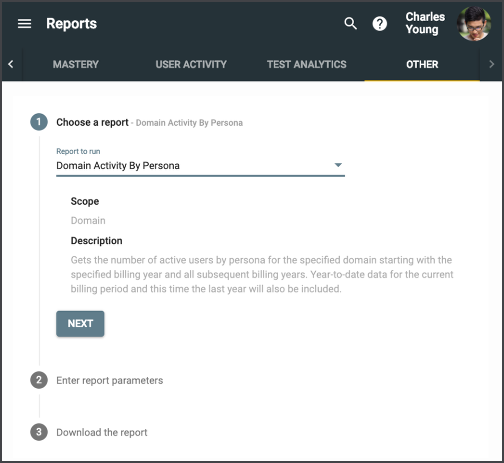 the other tab in the reports menu prompting the user to choose a report