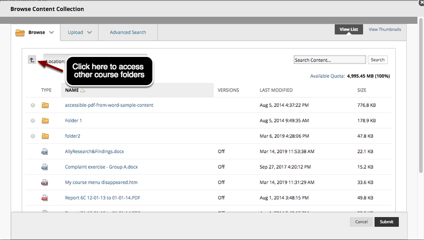 Image of the course content collection with an arrow pointing to the upward arrow button (up one level button) with instructions to click here to access other course folders.