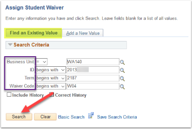 Assign Student Waiver - Find an Existing Value tab