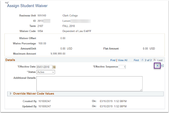 Assign Student Waiver - Plus button highlighted